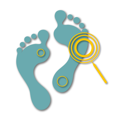 Feet with magnifying glass